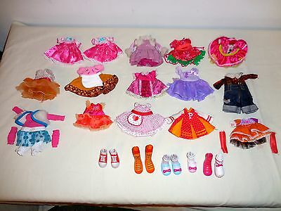 LALALOOPS  FULL SIZE DOLLS CLOTHES LOT 14 DRESSES &FOREST EVERGREEN SOME SHOES