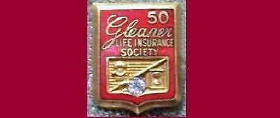 Old GLEANER Life Insurance Society -50 year Pin w/stone