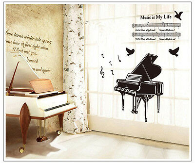 Music Life Piano Wall Decal Decor Room Stickers Vinyl Removable Paper Mural