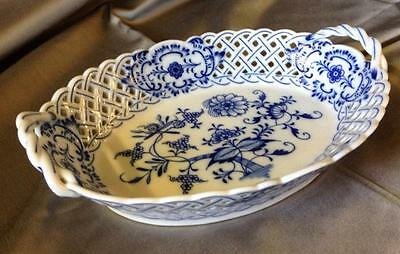 Late 19thc Meissen Blue Onion Pattern Reticulated Oval Dish ~ Porcelain ~