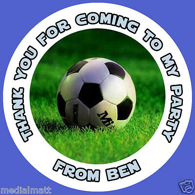 35 x Personalised Football Birthday Stickers Party Sweet Cone Thank You