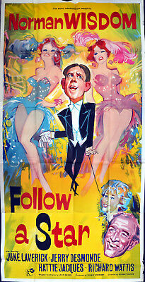 FOLLOW A STAR 1959 Norman Wisdom, June Laverick Jerry Desmonde UK 3-SHEET POSTER