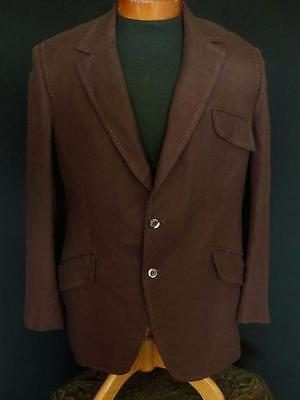 Vintage Classic 1970'S Detail Stitch Brown Wool Blend Mod Sport Jacket Size 40