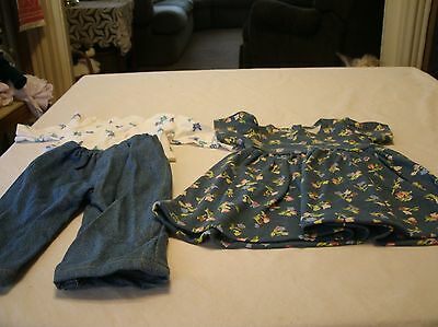 American Girl Handmade Retired Doll Clothes floral knit dress/butterfly tee&jean