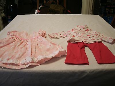 Amrican Girl Handmade Retired Doll Clothes pink daisy dress/butterfly tee&pants
