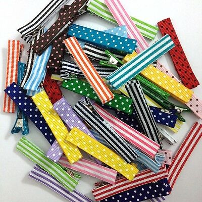 "25 - Dots & Stripes Lined LARGE 2.25"" Single Prong Alligator Clips - No Slip"