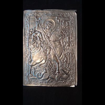 40019 Unusual Orthodox religious Copper Repousse Icon - St. George Victorious