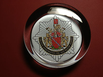 GREATER MANCHESTER FIRE & RESCUE SERVICE    70mm  GLASS PAPERWEIGHT