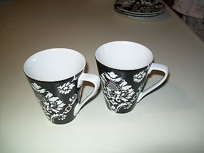 STONEWARE HOME  BLACK AND WHITE DAMASK 2 COFFEE CUPS
