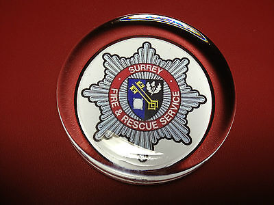 SURREY  FIRE & RESCUE SERVICE   70mm  GLASS PAPERWEIGHT