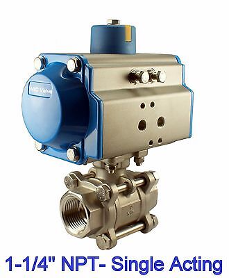"""1-1/4"""" Pneumatic Single Acting Spring Return Air Actuated Stainless Ball Valve"""