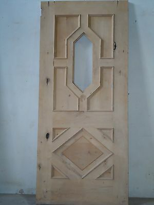 Unfinished entry door with diamond glass insert D-I