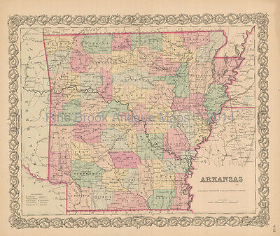 Arkansas Antique Map Colton 1856 Original