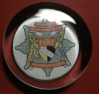 NORFOLK FIRE & RESCUE SERVICE   70mm  GLASS PAPERWEIGHT