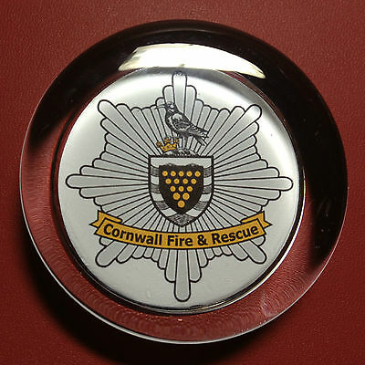 CORNWALL  FIRE & RESCUE SERVICE   70mm  GLASS PAPERWEIGHT
