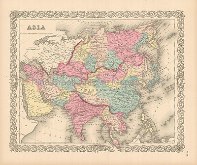 Asian Continent Antique Map Colton 1855 Original