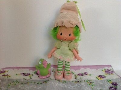 Vintage Strawberry Shortcake Lime Chiffon Doll With Pet Hat Factory Attached