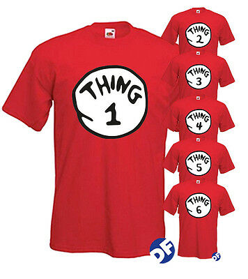 Dr Seuss Cat in the Hat TShirts Thing 1–Thing 8 Tshirt Crimbo Adults & Kids NEW