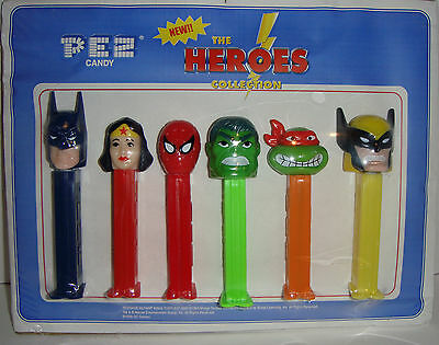Promotional PEZ piece with 6 THE HEROES COLLECTION from Jan 2000