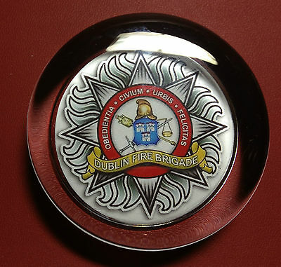 DUBLIN FIRE BRIGADE   70mm  GLASS PAPERWEIGHT
