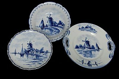 Antique Delftware Blue & White Set of 2 Wall Plates & 1 Bowl Germany EXCELLENT!