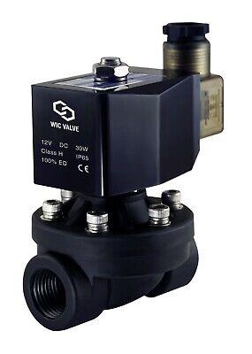 """1/2"""" Inch Plastic Air Water Zero Differential Electric Solenoid Valve NC 12V DC"""