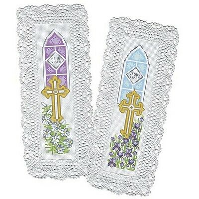 NIP Craftways counted cross stitch kit Easter Lace Bookmarks Set of 2