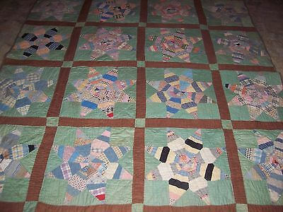 1890's-early 1900's Spider Web Star-Log Cabin Star Quilt-Never used