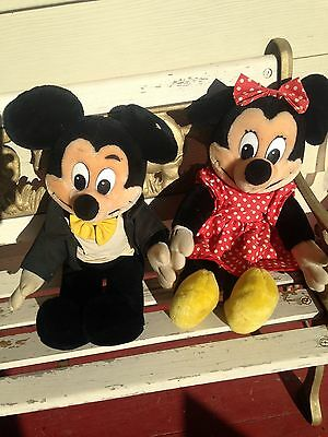 "18"" Tall Vintage Mickey and Minnie Mouse Disneyland Plush Stuffed Animals"