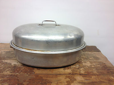 Vintage Oval Pure Aluminum Roaster Made In USA Mid Century Kitchen Cooking Tool