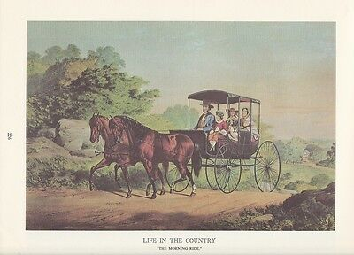 """1974 Vintage Currier /& Ives COUNTRY LIFE /""""TROTTING on SNOW CRACKS/"""" COLOR Litho"""