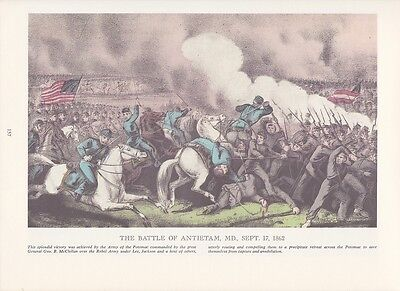 "1974 Vintage Currier /& Ives CIVIL WAR /""BATTLE OF CHICKAMAUGA/"" COLOR Lithograph"