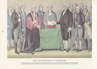 """1974 Vintage Currier & Ives """"WASHINGTON'S INAUGURATION"""" NYC History COLOR Litho"""