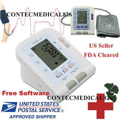 US New Automatic Blood Pressure Monitor Machine Pulse Heart Rate Software Cuff