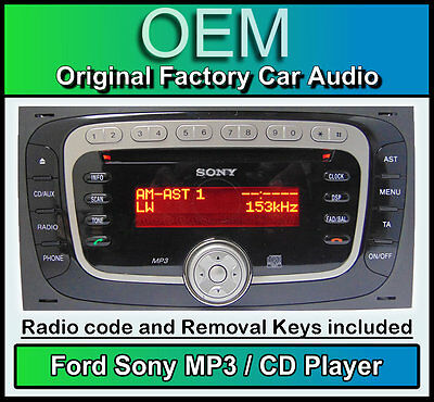 Ford Sony CD MP3 player, Ford Transit stereo radio with code and removal keys