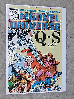 THE OFFICIAL HANDBOOK OF THE MARVEL UNIVERSE #9 Q-S NM- BEAUTIFUL BOOK