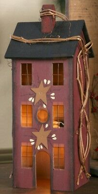 Primitive Country Electric Light Wood Burgundy Saltbox House New