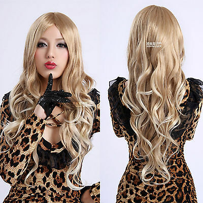 new fashion gold color curly wave long hair wig women cosplay/lolita full wigs
