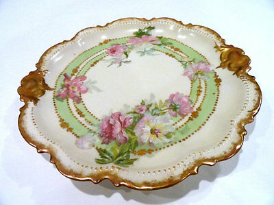 Limoges France CORONET Hand Painted 9in Cake Plate Scalloped Gilded Rim