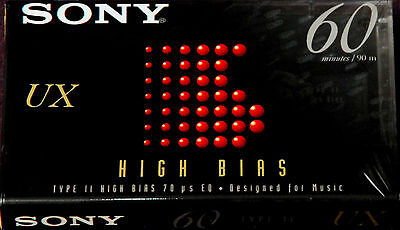 SONY UX 60 SEALED HIGH BIAS BLANK AUDIO CASSETTE TYPE II RECORDING TAPE