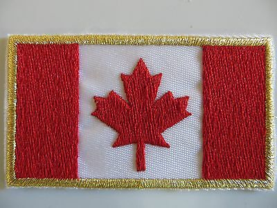 "EMBROIDERED CANADIAN FLAG PATCH (2 3/4"" wide x 1 5/8 "")high iron on or sew on"