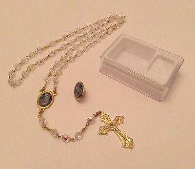 "Our Lady of Fatima Rosaries, Gold Plated Linked Chain 20"" Inch Made in Italy"
