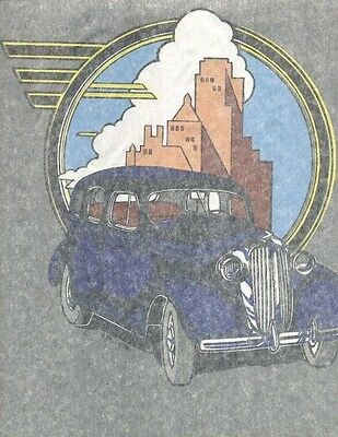 OLD BLUE CLASSIC CAR  iron on tee shirt transfer full size NOS