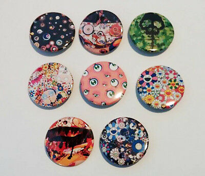 8 piece lot of Japanese artist Takashi Murakami pins buttons badges