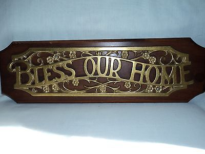 """""""BLESS OUR HOME Shiny Brass Toned Wooden Wall Plaque Inspirational & Traditional"""