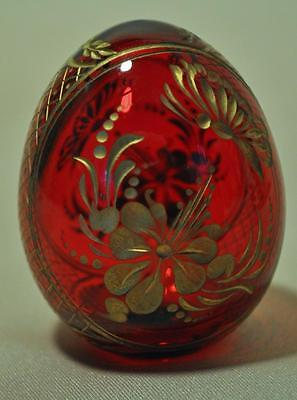 STYLE of FABERGE  FINELY DESIGNED RUSSIAN GLASS EGG - RUBY, CUT AND ETCHED