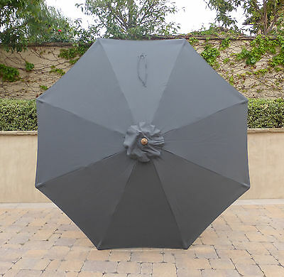9ft Umbrella Replacement Canopy 8 Ribs in Charcoal Grey (Canopy Only)