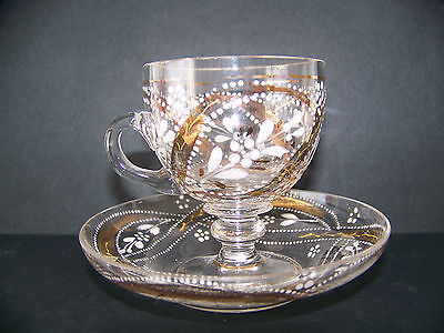 Bohemian Glass Moser Type Clear with Gold and White Enamel Cup & Saucer