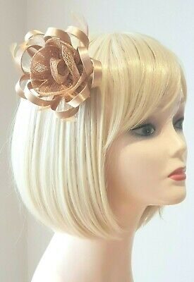Silver Fascinator Brooch Clip Hair Feather Flower Wedding Prom Ladies Day Races