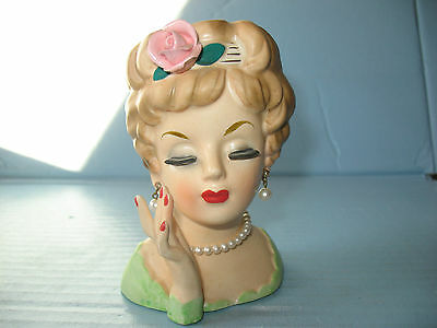 Vtg Inarco 1961 Lady Head Vase-Pearl Earrings & Necklace